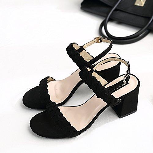 XY&GKIm Sommer mit einem Wort Schnalle Dick mit Sandalen Frauen Schnalle Leder gewebt Zehen grob Heel Sandalen, komfortabel und schön 40 black