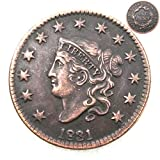 FKaiYin 1831 Antike Liberty One Cent Replik Old Coin American Lucky Old Coin - US Old Coins - Unzirulated Hobo Nickel USA Morgan Dollar Münze Future Experience -
