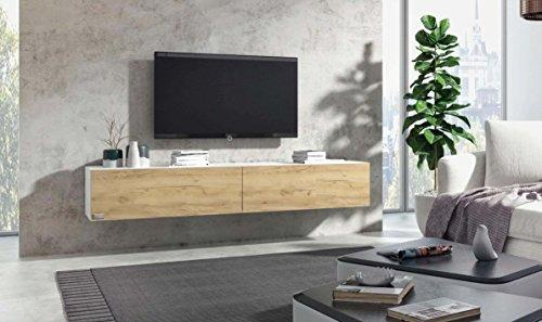 Wuun® TV Board hängend/8 Größen/5 Farben/140cm Matt Weiß- Eiche/Lowboard Hängeschrank Hängeboard Wohnwand/Hochglanz & Naturtöne/Somero