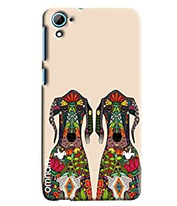 Omnam Two Dogs On Cream Background With Effect Printed Designer Back Cover Case For HTC Desire 826