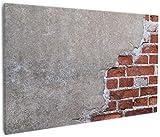 Wallario Leinwandbild Steinwand rote Ziegelsteine mit Putz - 60 x 90 cm: Brillante lichtechte Farben, hochauflösend, verzugsfrei