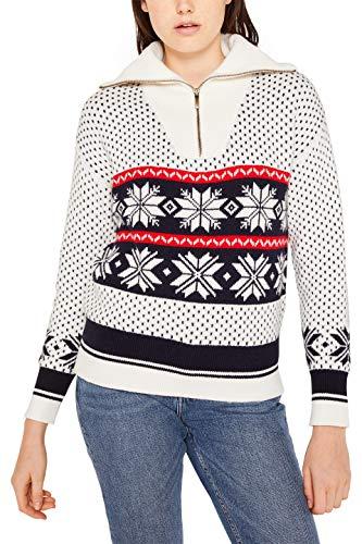 edc by ESPRIT Damen 119CC1I013 Pullover, Weiß (Off White 110), Medium (Herstellergröße: M)