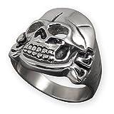 Fly Style® Herren-Ring Edelstahl 29 Designs Totenkopf Freimaurer Templer Band risstmix002, Ring Grösse:19.1 mm, Modell:Husaren Skull Freikorps Bones