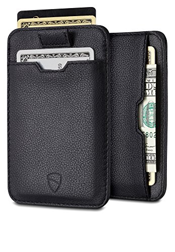 CHELSEA Kreditkartenetui mit RFID Schutz von Vaultskin. Leder Geldbeutel und Kreditkartenhülle, sicherer NFC Blocker, Schutzhülle für bis zu 10 Karten (Schwarz) (Leder-schlüssel-etui Italienische)