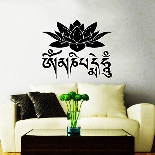 Adesivi da Parete con fiore di loto Mantra Om Mantra Om Mani Padme Hum Quote (Adesivo Star Shapes)