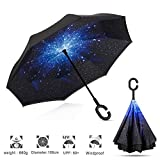 Parapluies cannes Double Couche Coupe-Vent, Parapluie Inversé de golf , hommes et femmes Voiture [ forme de C mains poignée gratuits ][ Prévenir dripping ][ Uv la preuve ] - Etoile