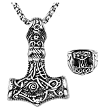 JOVIVI Edelstahl Schmuck,Keltische Knoten Thors Hammer Amulett Herren-Anhänger Halskette + Quake Fingerring Biker Herren-Ring,us13