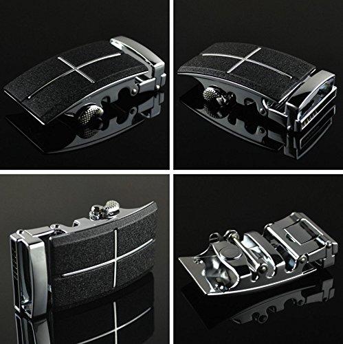 QISHI YUHUA PD Hommes Mode Casual Ceinture En Cuir De Vachette Boucle De Ceinture Automatique Noir 06
