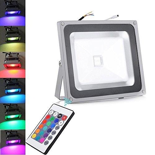 RGB LED de 10W, 20W, 30W, 50W, 100W, LED con cambio de color, mando a distancia, 16colores y 4modos, función de memoria LED exterior, luces de seguridad., 50W