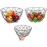 AIWANTO Simplicity Modern Metal Storage Basket Wire Fruit Bowl Countertop Decorative Storage Display Basket