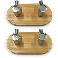 Coco Porta autoadesivo Ganci Bagno ganci appendiabiti e porta gancio con adesivo 3M + Full 304acciaio inossidabile + resistente in bambù, 2pcs 2 hooks