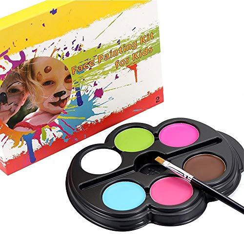 Bunt Gesichtslack-Set für Kinder Erwachsene, 6 Farben, ungiftig, ideal für Partys, Gala, Event, mit kleinem Pinsel (Color : 2)