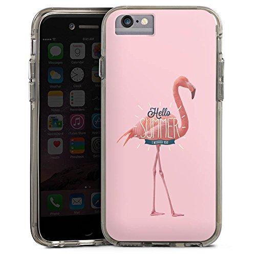 Apple iPhone X Bumper Hülle Bumper Case Glitzer Hülle Flamingo Sommer Summer Bumper Case transparent grau