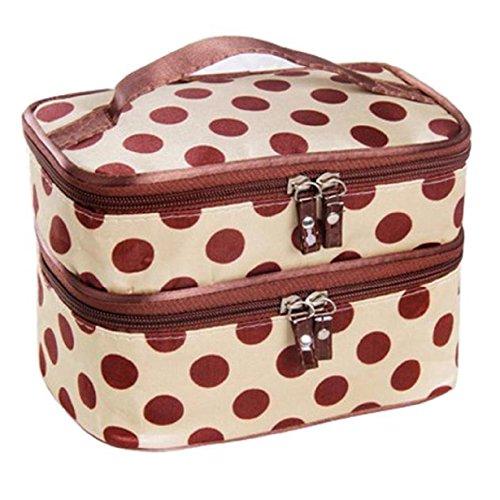 Susenstone Double Layer Cosmetic Bag viaggio borsa da toilette trucco Beige