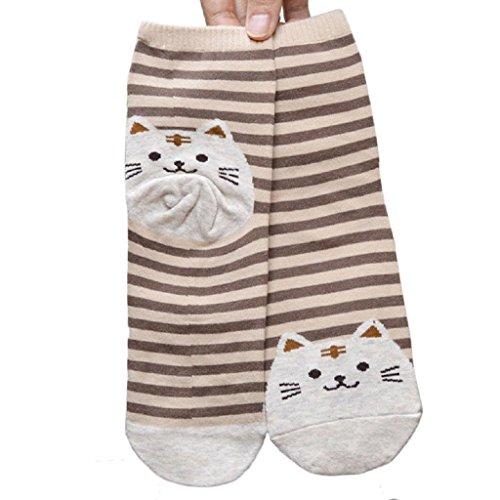 Socken Longra 3D Tiere gestreifte Cartoon Socken Frauen Damen Katze Fußabdrücke Baumwolle Socken Stock (22.5cm—24.5cm/8.66