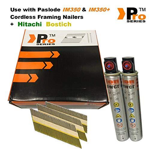 75mm und verzinktem Ring Einrahmung Nägel, für Paslode/Hitachi Nailers eingeclipt, geringt; SN34DK, 2K Nägel & 2Fuel Zellen
