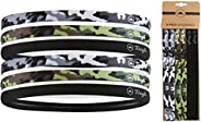 Athletic Sports Headbands - 6 Pack Thin Hair Bands for Men, Women, Boys & Girls - Elastic Head Bands with