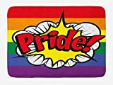 tgyew Pride Bath Mat, Pop Art Style Comic Book Icon Pride Hand Lettering Effect and Rainbow Flag Image, Plush Bathroom Decor Mat with Non Slip Backing, 23.6 W X 15.7 W inches, Multicolor