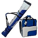 BRUBAKER Sac à chaussures de ski 'Super Function' et Housse à skis 'Carver Pro' pour 1 Paire de skis + Bâtons + Chaussures + Casque - 170 cm - Bleu / Argenté