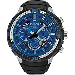 Pulsar Men's 48mm Black Rubber Band Steel Case Quartz Blue Dial Chronograph Watch PT3551X1