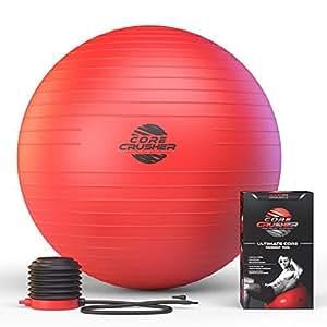 Schweizer Fitness-Ball 65cm mit Pumpe - der Beste für Bauchmuskeln - Stabilität & Tonus - für Cross Fitness - Yoga & Pilates - mit kostenlosem Bonus Weihnachts Ebook mit 20 Core Crushing Übungen & Workouts