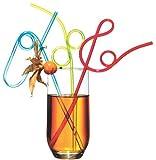 Susy Card 11144920 - Trinkhalme, Spiral, farbig, sortiert, 4 Stück