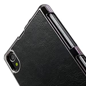 Mori Crazy Horse Leather Coated Hard Case for Sony Xperia Z1 - Black