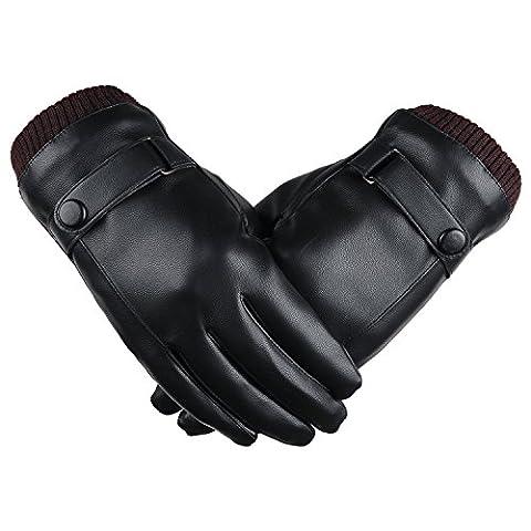 SRANDER Touchscreen Outdoor Leder Winter-warme Handschuhe für Herren Motorrad Gloves (YF105)