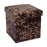 Cadorabo Intirilife – 30 x 30 x 30 cm Aufbewahrungs-Box aus Stoff und Pappe Faltbox Ordnungsbox Kiste mit Deckel und Tieraufdruck in GEPARDEN-Muster