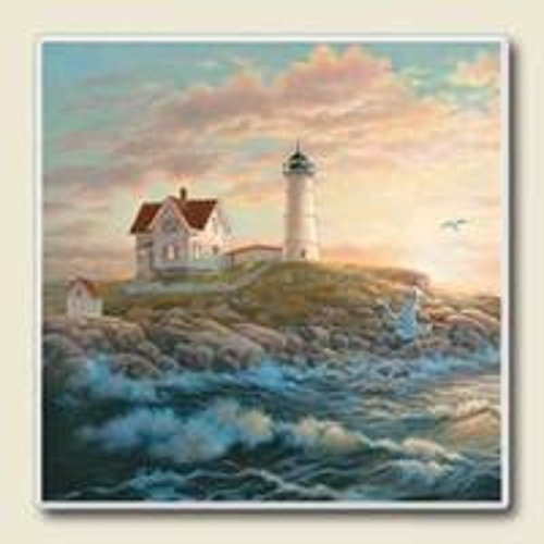 Lighthouse At Dawn Absorbastone Set of 4 Coasters by AbsorbaStone Absorbastone Coaster Set