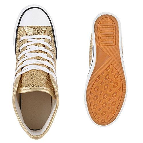 Damen Sneakers Keilabsatz Sneaker-Wedges Pailletten Schuhe Gold