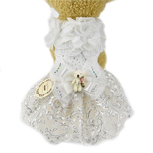 Weiß Spitze Blume Hund Puppy Luxus Schleife Kleid Haustier Katze Hund Tutu Rock Prinzessin Hochzeit Kleid Hund Chihuahua Kleidung Shirt Braut Kostüm