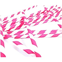 SODIAL(R) 100 x Retro Stripe Vintage Paper Drinking Straws Birthday (dark pink)4packs