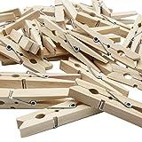 LeTOMA - 60 St. Wäscheklammern 7,2 cm aus Holz - Deko-Klammern ideal zum Basteln, Beschriften, Dekorieren, Verzieren und Wäsche aufhängen - Farbe Naturbraun