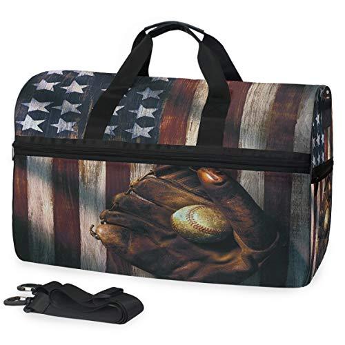 Oarencol Baseball-Handschuh, amerikanische Flagge, Vintage, Reisetasche, Reisetasche mit Schuhfach für Damen und Herren -