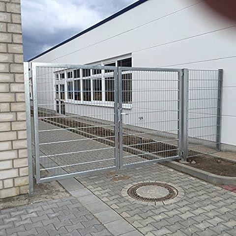 Verzinktes Einfahrtstor bzw. Gartentor mit 2 Flügeln / Breite 350 cm x Höhe 200 cm / Inklusive 2 Pfosten + Bodenverriegelung + Augenschrauben