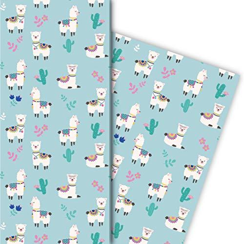 chenkpapier mit Kaktus und Lamas für tolle Geschenk Verpackung 32 x 48cm, 4 Bögen zum Einpacken für Geburtstage, Kinder, Teenager, lila ()