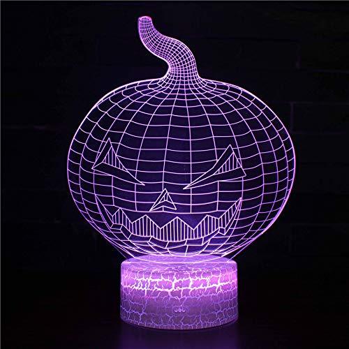 on Halloween Kürbis Modell Nachtlichter Usb Led 3D Lampe Schöne Cartoon Kinderspielzeug Kinderzimmer Dekoration 3D Nachtlicht Riss Stil Basis ()