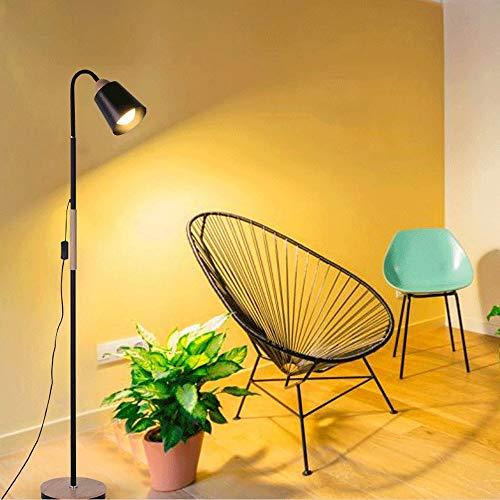 Fofofs Moderne minimalistische Schlafzimmer Stehlampe Eisen verstellbarer Schwanenhals Nachttischlampe Nordic Wohnzimmer Kreative LED Holzsockel Innenbeleuchtung E27 Max 60W (Color : Black) - Verstellbarer Schwanenhals Stehlampe