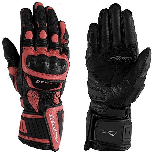 Guanto Pista Racing Sport Protezioni Tecnico Professionali Pelle Moto Rosso S