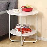 Ljy coffee table TDD10TDD Sofa Beistelltisch Wohnzimmer Kleine Runde Tisch Bett Minimalistische Mobile Kleine Couchtisch 60 * 60 * 60,5 cm (Farbe : Weiß)