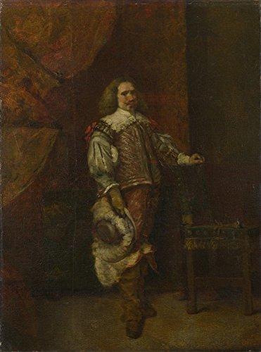 Das Museum Outlet–Ignacio De Leon Y Morrogh–Ein Mann in Spanisch Kostüm aus dem 17. Jahrhundert, gespannte Leinwand Galerie verpackt. 50,8x 71,1cm