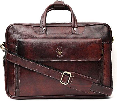 WildHorn 100 % Genuine Leather Brown 16 inch Laptop Messenger Bag