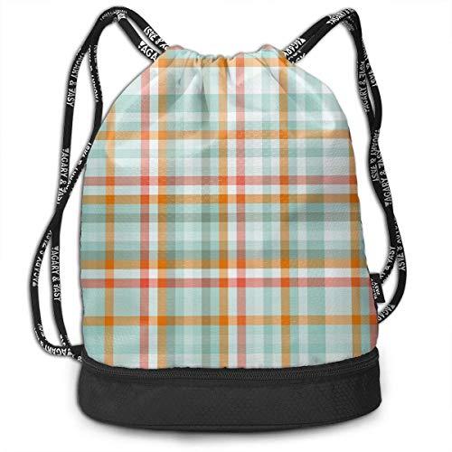Rucksäcke,Sporttaschen,Turnbeutel,Daypacks, Retro Orange Striped Blue Plaid Background Personalized Multifunctional Beam Drawstring Backpack Unisex Suitable for Outdoor Travel -