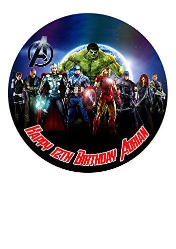 (The Avengers Marvel Superheros Personalisierte Kuchen Topper Puderzucker Papier 19,1cm Bild 1)