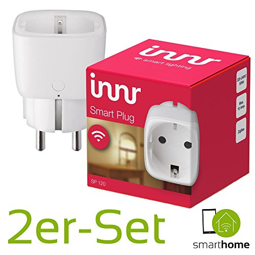 Innr Smart Plug on/off | 2 x intelligente Smart-Home Steckdose | Funktioniert mit PHILIPS HUE*, OSRAM LIGHTIFY und innr-Fernbedienung | Zigbee-zertifiziert SP120 | App-Steuerung