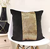 Valery Madelyn Luxury Gold with Black Background Cushion Cover Decorative Geometric Velvet Pillowcase with Applique Block Sequins, 45x45cm/18 x18 Inch