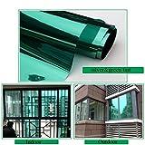 Hoho Window film solaire réfléchissant la chaleur contrôle One Way Miroir Confidentialité résidentiel en verre teinté Stickers, Vert/argenté, 70cmx500cm
