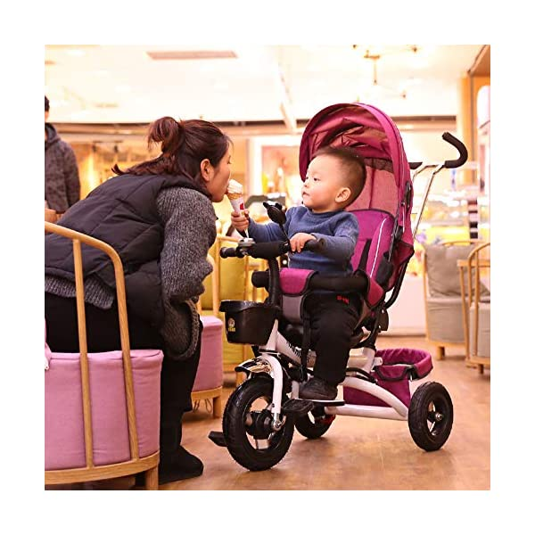 BGHKFF 4 In 1 Childrens Tricycles 8 Months To 6 Years 5-Point Safety Belt 360° Swivelling Saddle Kids' Trikes Adjustable Push Handle Childrens Folding Tricycle Maximum Weight 30 Kg,Gray BGHKFF ★ 4 in 1 multi-function: can be converted into a stroller and a tricycle. Remove the backrest and awning and use the putter as a tricycle. The best choice for 8 months to 6 years. ★ Tricycle foldable, space saving, easy to carry, is the best travel companion; adjustable push rod, push rod is directly connected to the tricycle handlebar through the steering link, parents can use the push rod to control the direction. ★ Rear wheel double brakes, 2 foldable footrests, non-slip handles and pedals, bells, 2 baskets, safe and comfortable driving experience. 5-point seat belt 8