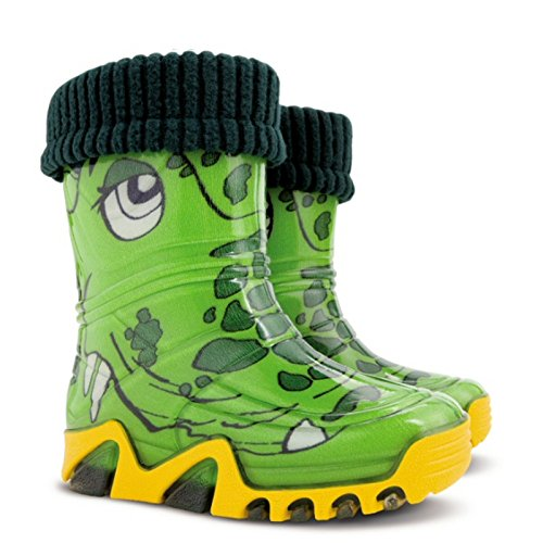 Demar Boys Girls Kids Warm Fleece-Lined Green Crocodile Wellington Boots Wellies New
